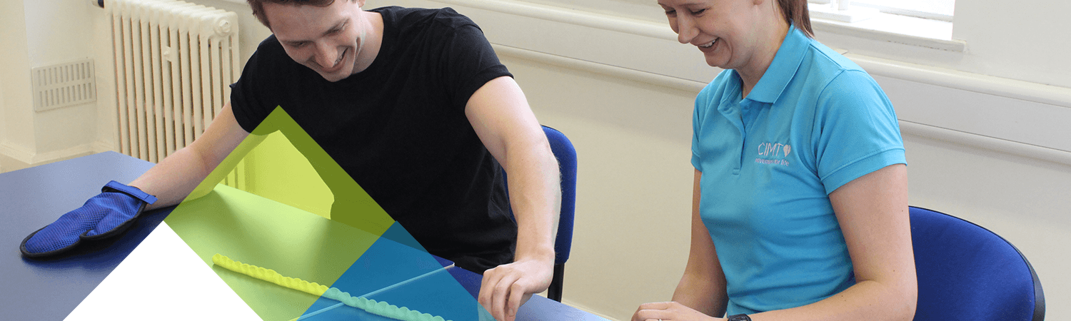 CIMT patient laughs and smiles during physiotherapy