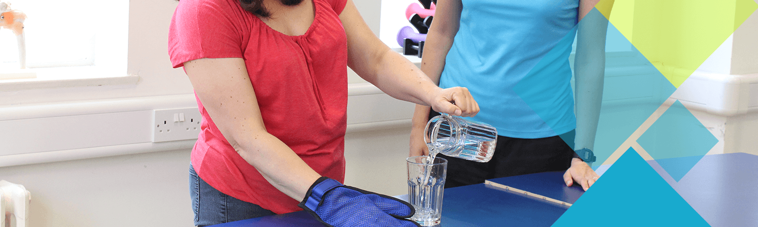 A popular CIMT activty is pouring a glass of water with the weaker hand in order to strengthen it